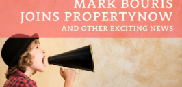 a graphic image of a woman with a bullhorn and the text 'Mark Bouris Joins PropertyNow And Other Exciting News'