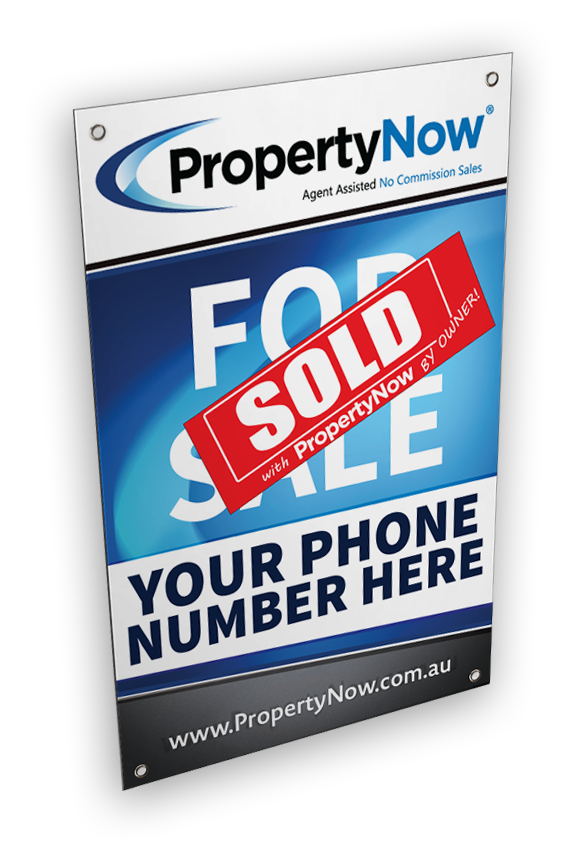 a PropertyNow for sale sign with the word 'SOLD' added to it