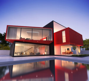 a cube-shaped modern house in red, black, and white colours