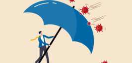 a cartoon of a man using a giant umbrella as a shield against viruses