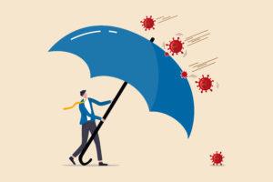 a cartoon of a man using a giant umbrella as a shield against viruses