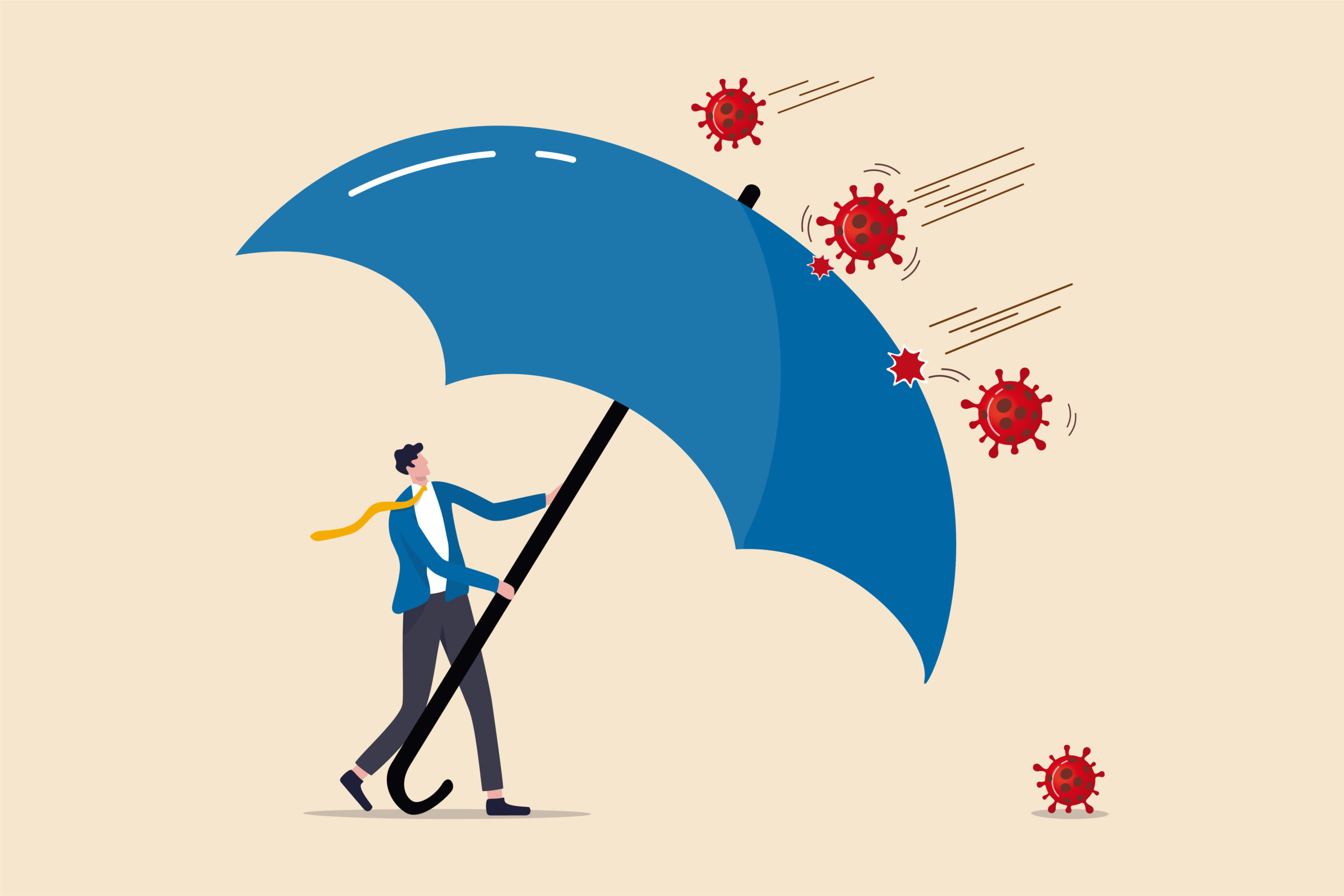 illustration of a man holding a giant umbrella protecting him against viruses