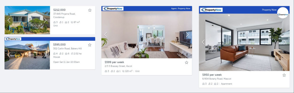 screenshots of PropertyNow listings of various properties