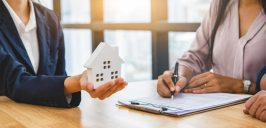 Real estate broker agent offer private home to customer