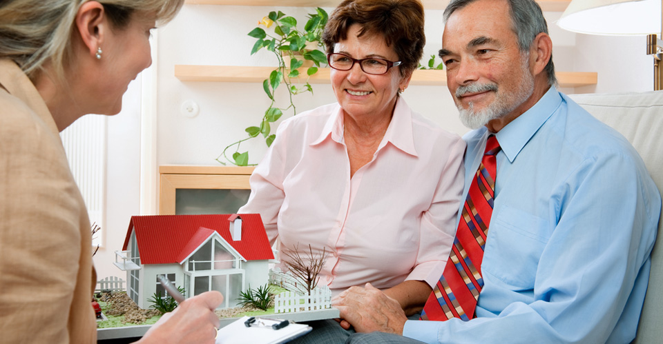 Senior couple discussing with consultant